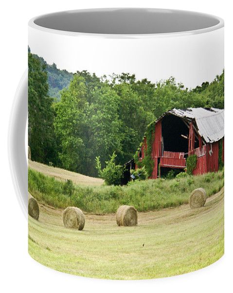 Old Coffee Mug featuring the photograph Dilapidated Old Red Barn by Douglas Barnett