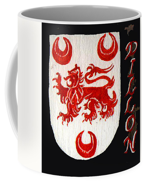 Coat Of Arms Coffee Mug featuring the painting Dillon Family Shield by Barbara McDevitt