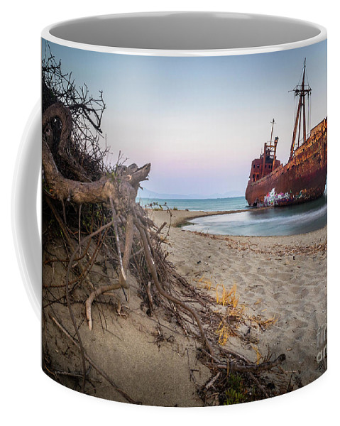 #shipwreck #seaside #greece #holiday #traveler #beach #sand #sea Coffee Mug featuring the photograph Dimitrios Shipwreck by Constantin Carip