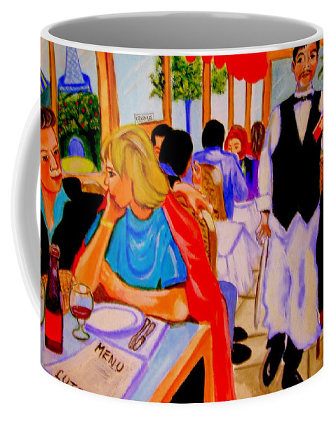 Paris Coffee Mug featuring the sculpture Diners At La Lutetia by Rusty Gladdish