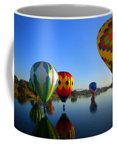 Balloon Coffee Mug featuring the photograph Dip And Go by Mike Dawson