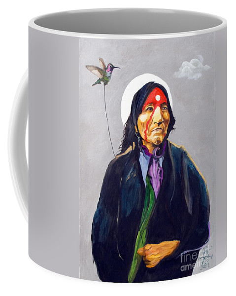 Shaman Coffee Mug featuring the painting Direct Connect by J W Baker