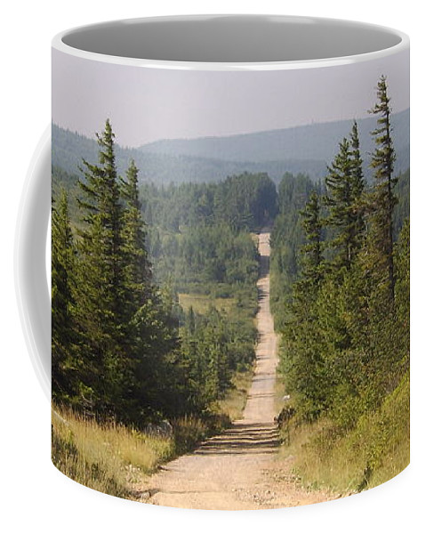 Dirt Road Dolly Sods West Virginia Appalachian Mountain Landscape Images Photgraph Prints Nature Great Outdoors Wilderness Wind Blown Pine Trees Blue Ridge Mountain Prints Coffee Mug featuring the photograph Dirt Road To Dolly Sods by Joshua Bales