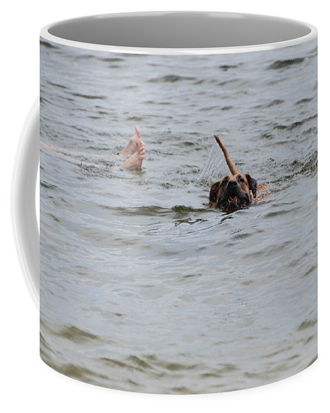 Feet Coffee Mug featuring the photograph Dirty Water Dog And Feet by Rob Hans
