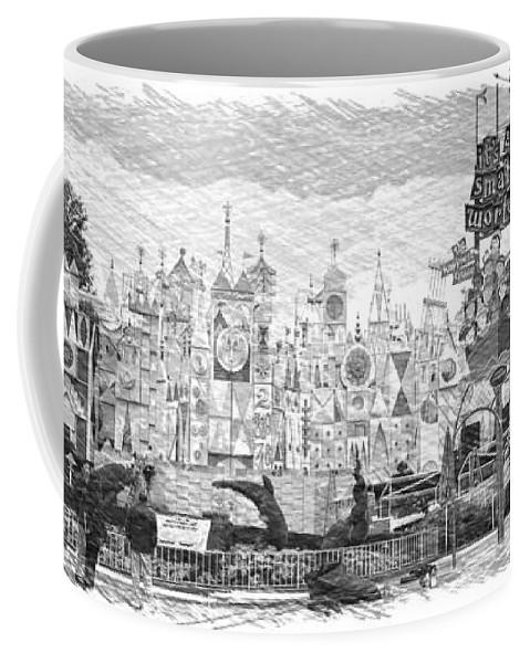 Disney Coffee Mug featuring the photograph Disneyland Small World Panorama Pa Bw by Thomas Woolworth