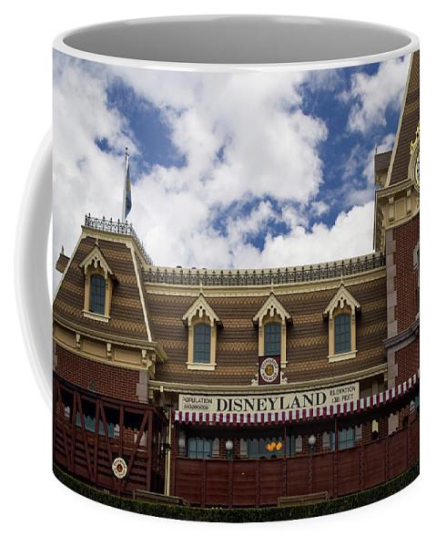 Disney Coffee Mug featuring the photograph Disneyland Train Depot Signage by Thomas Woolworth