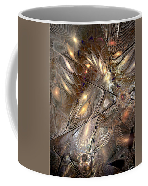 Abstract Coffee Mug featuring the digital art Disorderly Relativistic Interpretations by Casey Kotas