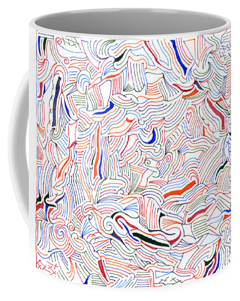 Mazes Coffee Mug featuring the drawing Displacement by Steven Natanson