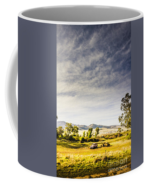 Abandoned Coffee Mug featuring the photograph Distant Car Wrecks On Outback Australian Land by Jorgo Photography - Wall Art Gallery