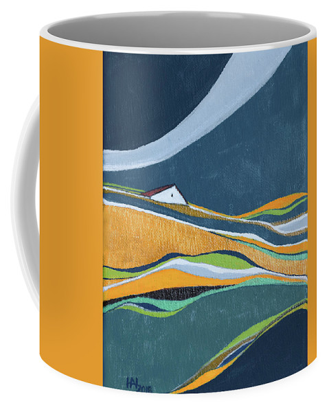 Abstract Coffee Mug featuring the painting Distant House by Aniko Hencz