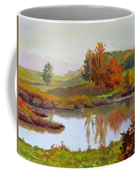 Landscape Coffee Mug featuring the painting Distant Maples by Keith Burgess
