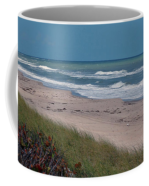 Ocean Coffee Mug featuring the digital art Distant Pier by DigiArt Diaries by Vicky B Fuller