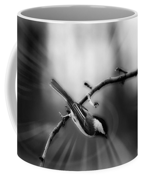Black Capped Chickadee Coffee Mug featuring the photograph Dive Dive Dive by Michael Tucker
