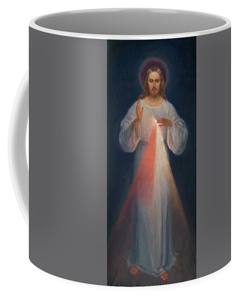 Divine Mercy Coffee Mug featuring the painting Divine Mercy by Kazimierowski Eugene