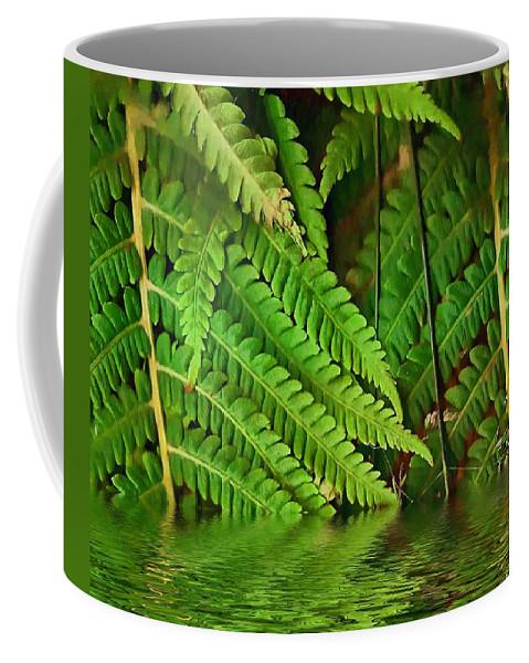 Djungle Coffee Mug featuring the mixed media Djungle by Pepita Selles