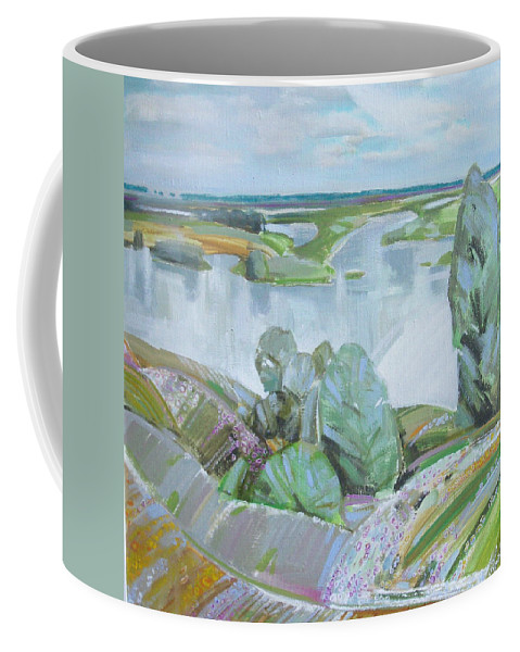 Landscape Coffee Mug featuring the painting Dnepro River by Sergey Ignatenko