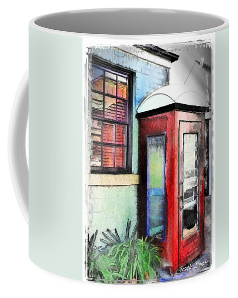 Telephone Coffee Mug featuring the photograph Do-00091 Telephone Booth In Morpeth by Digital Oil