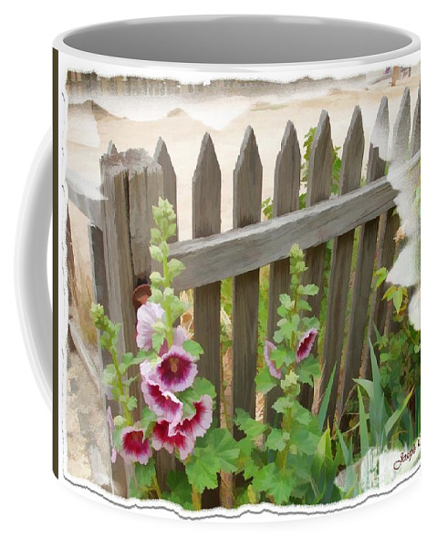 Fence Coffee Mug featuring the photograph Do-00099 Fence-flowers by Digital Oil