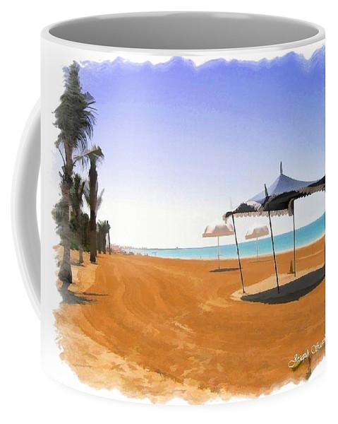 Beach Coffee Mug featuring the photograph Do-00155 Beach At Royal Mirage Hotel by Digital Oil