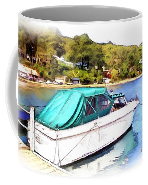 Boats Coffee Mug featuring the photograph Do-00276 Green Boat In Killcare by Digital Oil