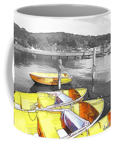 Yellow Boats Coffee Mug featuring the photograph Do-00279 Yellow Boats by Digital Oil