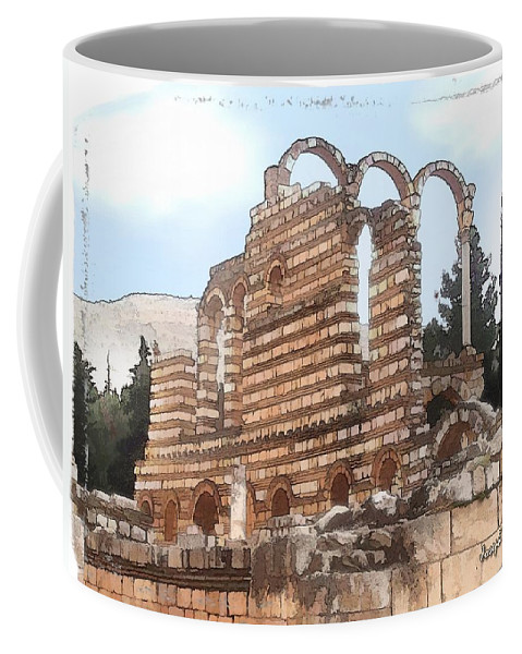 Ancient Coffee Mug featuring the photograph Do-00302 Ruins In Anjar by Digital Oil