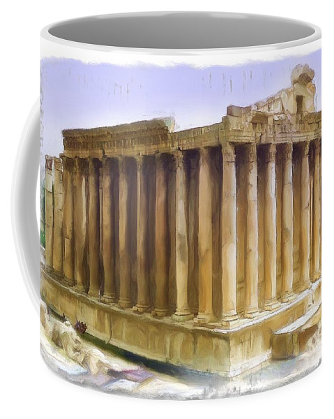 Roman Coffee Mug featuring the photograph Do-00312 Temple Of Bacchus In Baalbeck by Digital Oil