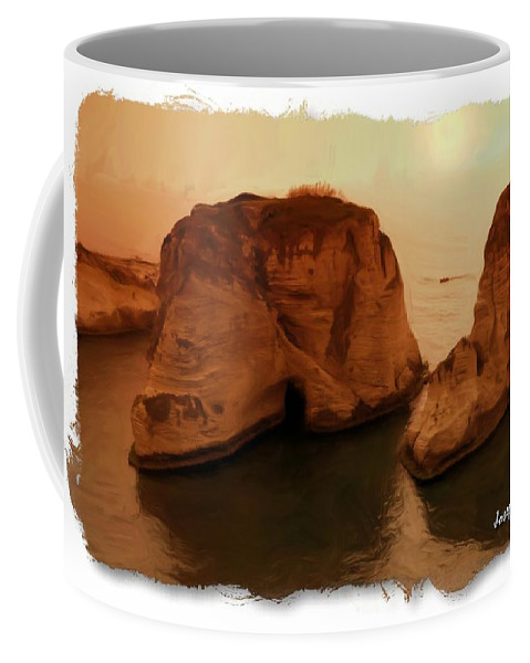 Raouche Coffee Mug featuring the photograph Do-00405 Raouche Sunset Beirut by Digital Oil