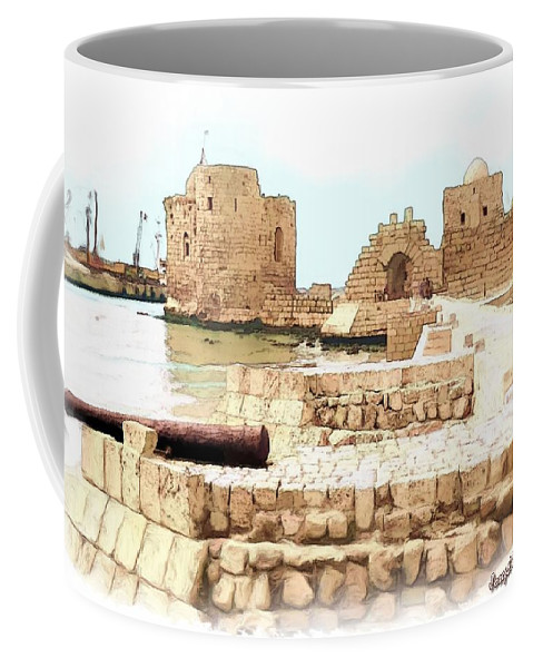 Citadel Coffee Mug featuring the photograph Do-00423 Citadel Of Sidon by Digital Oil