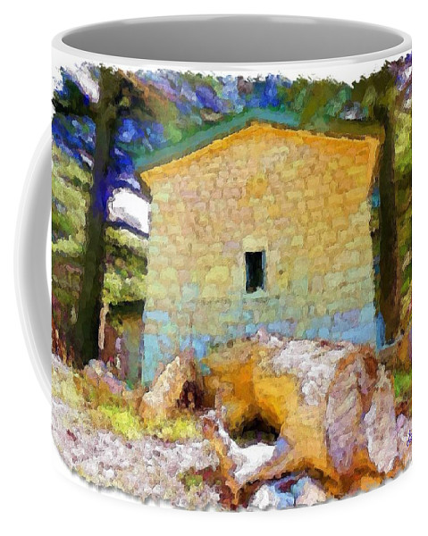 Building Coffee Mug featuring the photograph Do-00435 Building Surrounded By Cedars by Digital Oil