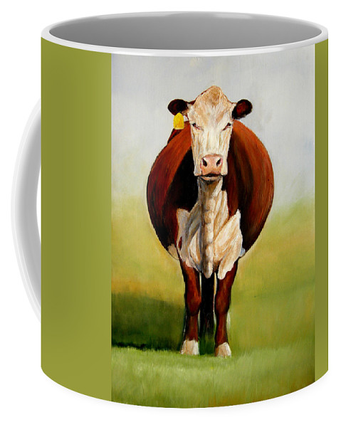 Hereford Coffee Mug featuring the painting Do I Look Fat by Toni Grote
