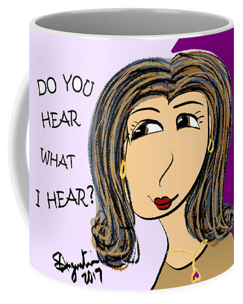 Inspire Coffee Mug featuring the drawing Do You Hear What I Hear? by Sharon Augustin