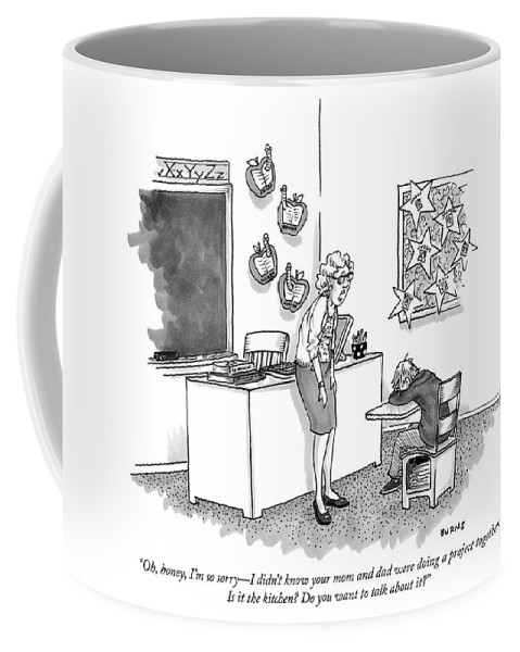 """oh Coffee Mug featuring the drawing Do You Want To Talk About It by Teresa Burns Parkhurst"