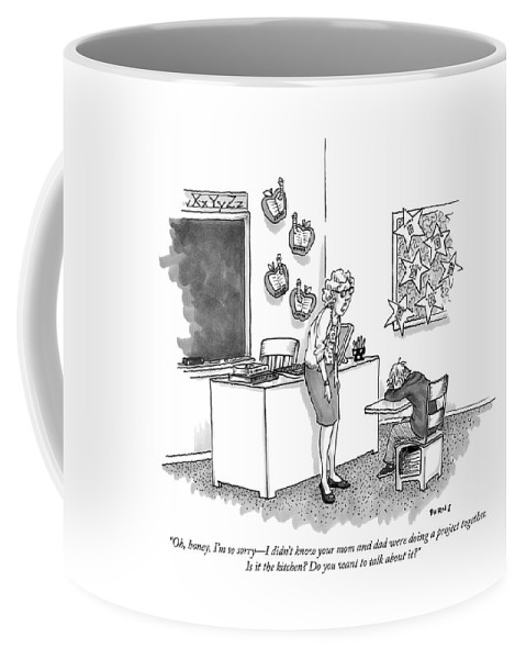 """""""oh Coffee Mug featuring the drawing Do you want to talk about it by Teresa Burns Parkhurst"""