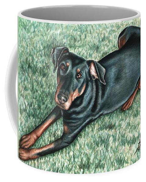 Dog Coffee Mug featuring the painting Dobermann by Nicole Zeug
