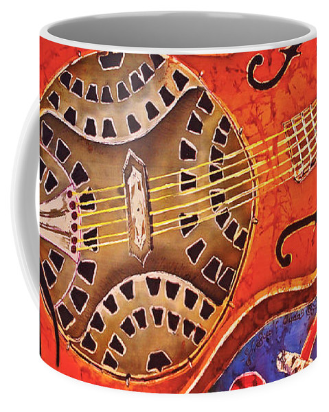 Dobro Coffee Mug featuring the tapestry - textile Dobro - Slide Guitar by Sue Duda