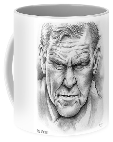 Doc Watson Coffee Mug featuring the drawing Doc Watson by Greg Joens