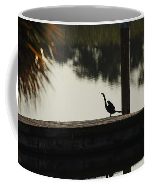 Reflections Coffee Mug featuring the photograph Dock Bird In Color by Rob Hans