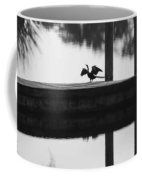 Black And White Coffee Mug featuring the photograph Dock Bird Pre Flight by Rob Hans