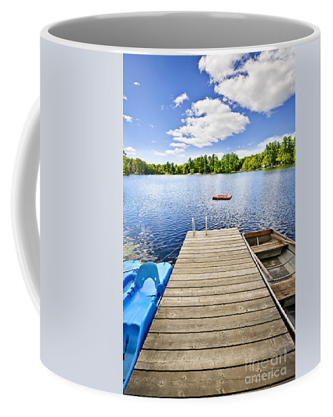 Dock Coffee Mug featuring the photograph Dock On Lake In Summer Cottage Country by Elena Elisseeva