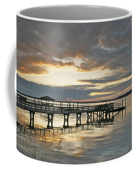 Sunset Coffee Mug featuring the photograph Dock Reflections by Phill Doherty
