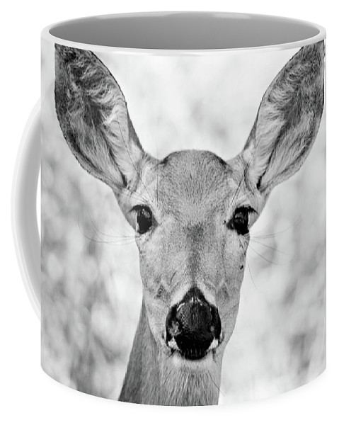 Deer Coffee Mug featuring the photograph Doe Eyes - Bw by Lana Trussell
