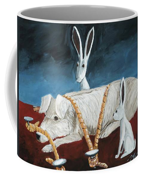 Dog Coffee Mug featuring the painting Dog Dreams by Shari Michaud