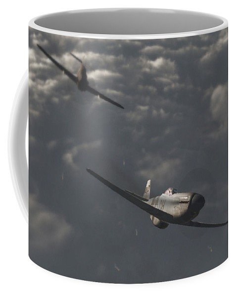 Ww2 Coffee Mug featuring the digital art Dog Fight by Richard Rizzo