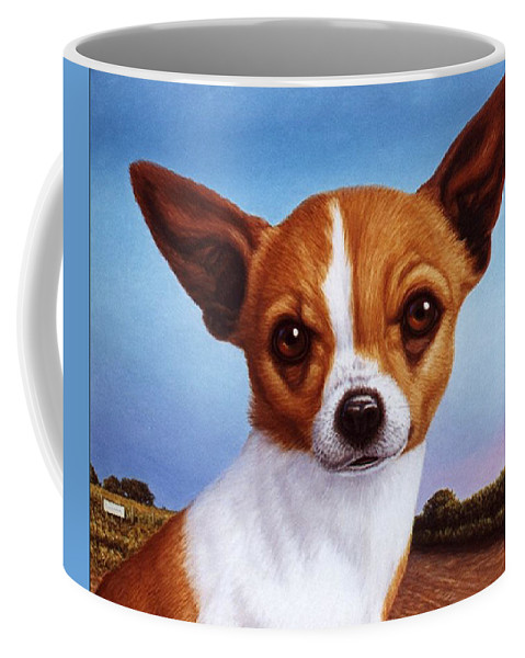 Chihuahua Coffee Mug featuring the painting Dog-nature 3 by James W Johnson