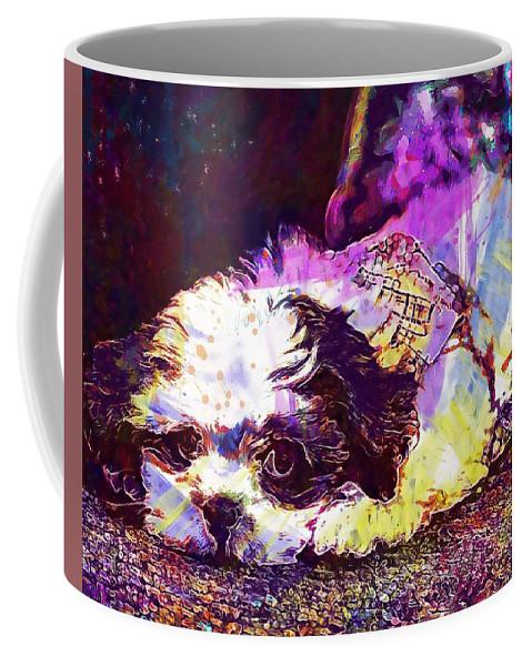 Dog Coffee Mug featuring the digital art Dog Noddy Lhasa Apso Pet Puppy by PixBreak Art