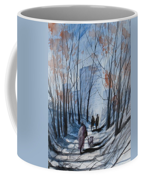 Dog Walking 2 Coffee Mug featuring the painting Dog Walking 2, Watercolor Painting by David K Myers