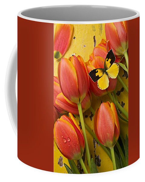 Butterfly Coffee Mug featuring the photograph Dogface Butterfly And Tulips by Garry Gay
