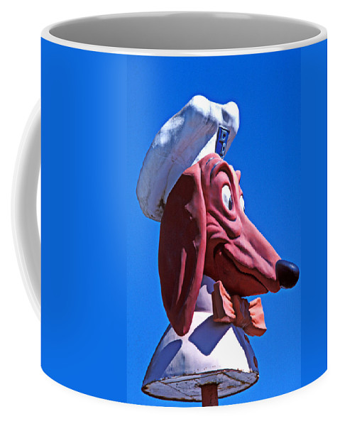 Doggie Coffee Mug featuring the photograph Doggie Dinner Sign by Garry Gay