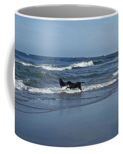 Dog Coffee Mug featuring the photograph Dogs In The Surf by Teresa Mucha